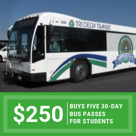 $250 buys five 3-day bus passes so that trainees can get to class